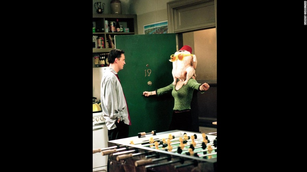 "In this first ""Friends"" Thanksgiving episode, Monica (Courteney Cox) -- shown here with Chandler (Matthew Perry) -- spends much of her day trying to please everyone with an assortment of holiday dishes. However, when Underdog, the Macy's Day parade balloon, floats away, the whole group is locked out of the apartment, leaving the meticulously prepared meal in shambles."