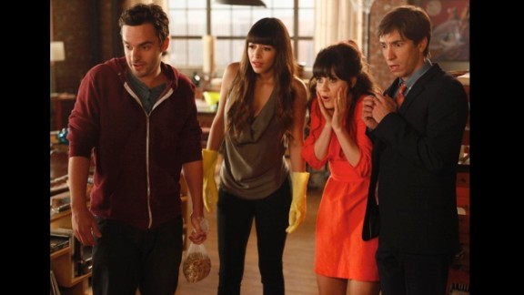 """In first Thanksgiving episode of """"New Girl,"""" Jess (played by Zooey Deschanel, second from right) invites her cruhh Paul (Justin Long, right) to the loft to spend the holiday with her roommates. Cooking mishaps follow, and a shocker. Also pictured are characters Nick Miller (Jake Johnson ) and Cece (Hannah Simone)."""