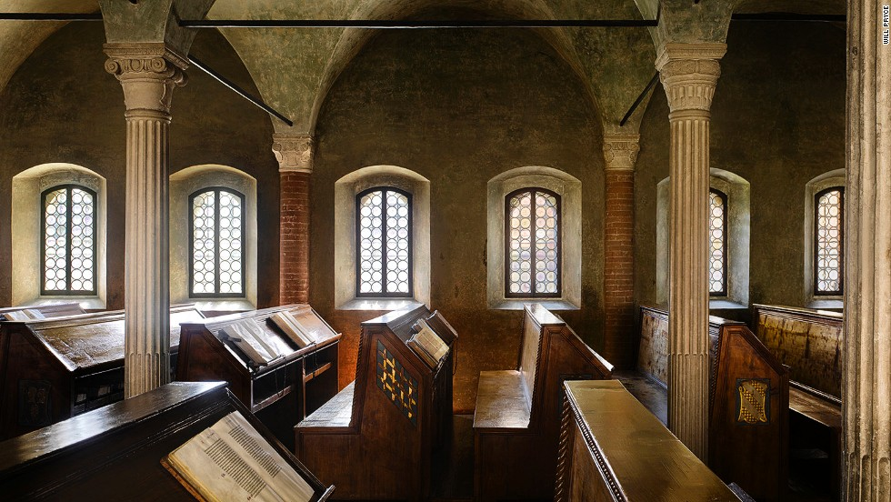 "<br /><br /><strong>James Campbe</strong>ll: ""This is the closest you can get to what a medieval library looked like. It was built for Malatesta Novello, a member of a prominent Italian aristocratic family, and it still contains original books, in their original places."""