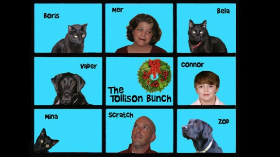 """Meredith Tollison's first PhotoShop solution to the """"happy family portrait"""" holiday card."""