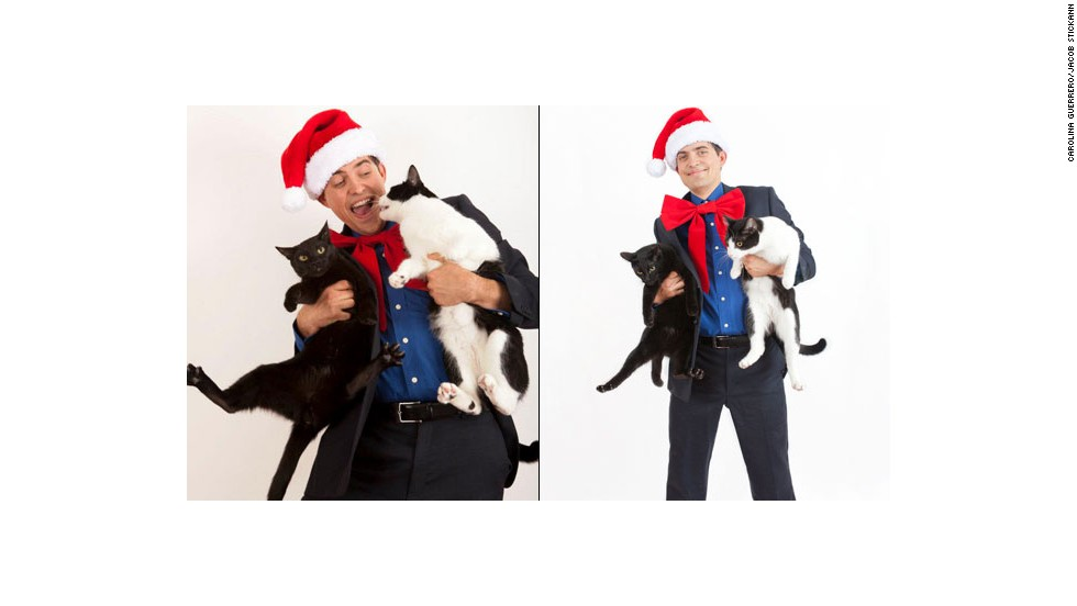 Jacob Stickann goofs off with his cats, left, before posing for his 2012 holiday card, right.