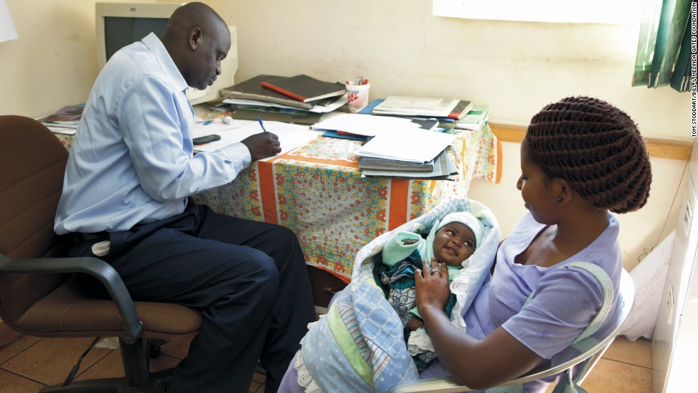 Like many mothers who are living with HIV, Judith Kata brings her daughter to the hospice for testing to ensure that she was born free of the virus.