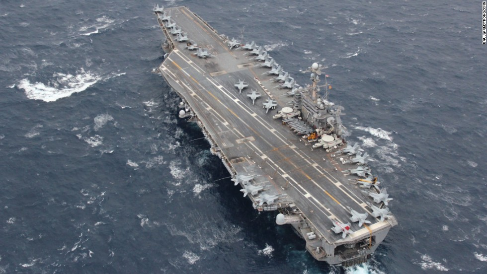 As the United States prepared to mark Thanksgiving, the centerpiece of the U.S. 7th fleet in the Pacific, the USS George Washington, was deployed off the Japanese island of Okinawa.