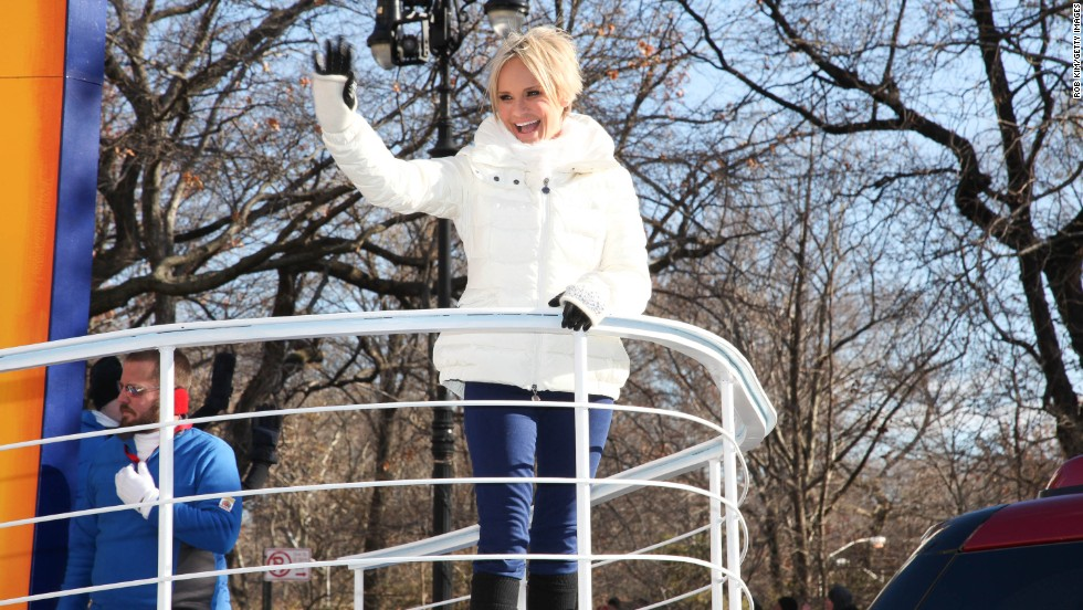 Kristin Chenoweth waves to the crowd at the Macy's Thanksgiving Day parade on November 28.