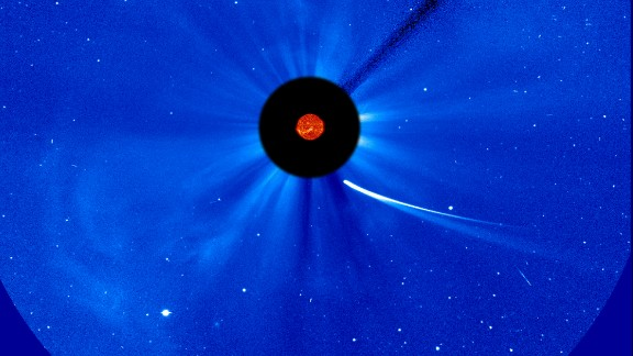 Comet ISON's position is seen near the sun at 9:30 a.m. ET on November 28. This composite image comes from NASA and the European Space Agency.