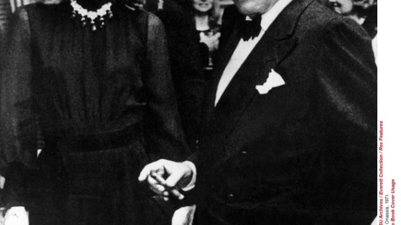 Emeralds continued to be popular with the jet-set well into the 20th century. Here, one of the greatest fashion icons of her time Jacqueline Kennedy  Onassis is wearing her Van Cleef & Arpels emerald necklace, in a photo with her husband  Aristotle Onassis in 1971.