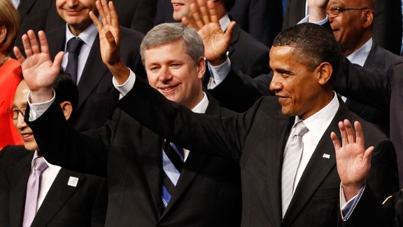 U.S. President Barack Obama and Canadian Prime Minister Stephen Harper  pose with other leaders from around the world at the G20 Summit on June 27, 2010 in Toronto, Canada.
