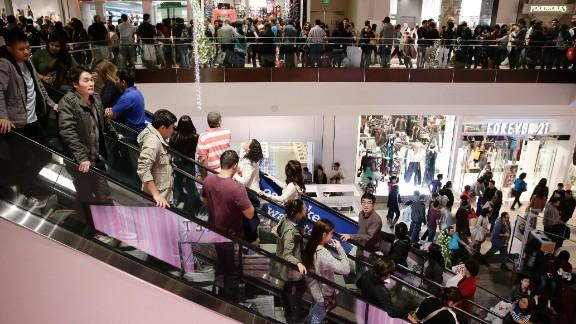 People in Brea, California, shop in Brea Mall on Black Friday.