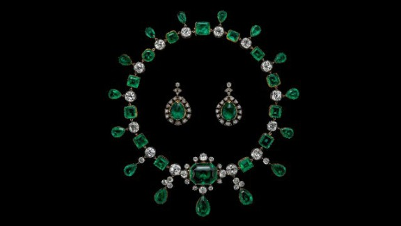 This necklace is believed to have been made of emeralds Catherine the Great, empress of Russia, gave to the second Earl of Buckinghamshire who was the British ambassador to her court. The two were rumored to have had a love affair (the earrings were made from different stones).