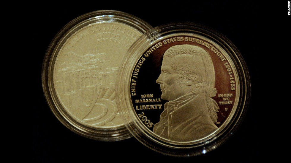 The U.S. Mint launched the Chief Justice John Marshall silver dollar at the Supreme Court on May 4, 2005, in Washington.