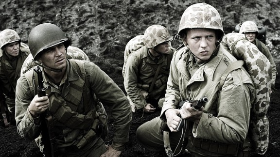 """Walker, left, and Barry Pepper were U.S. Marines in the 2006 drama """"Flags of Our Fathers."""""""