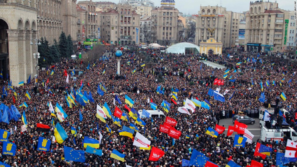 Demonstrators gather in downtown Kiev on December 1.