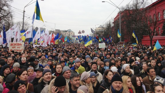 Anti-government protesters gather near Shevchenko University on December 1 in Kiev.