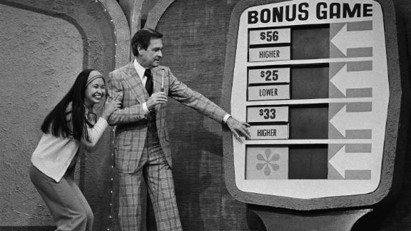 """Barker with a contestant on """"The Price Is Right"""" in 1978."""