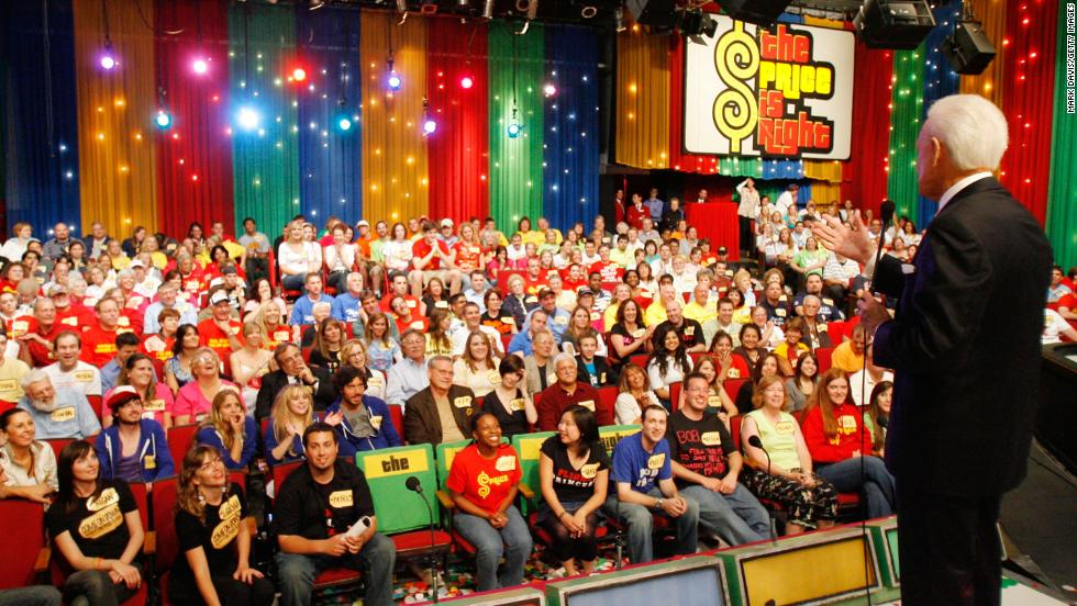 "Barker addresses the studio audience June 6, 2007, during his last taping of ""The Price Is Right."" Since then, the show has been hosted by comedian Drew Carey."