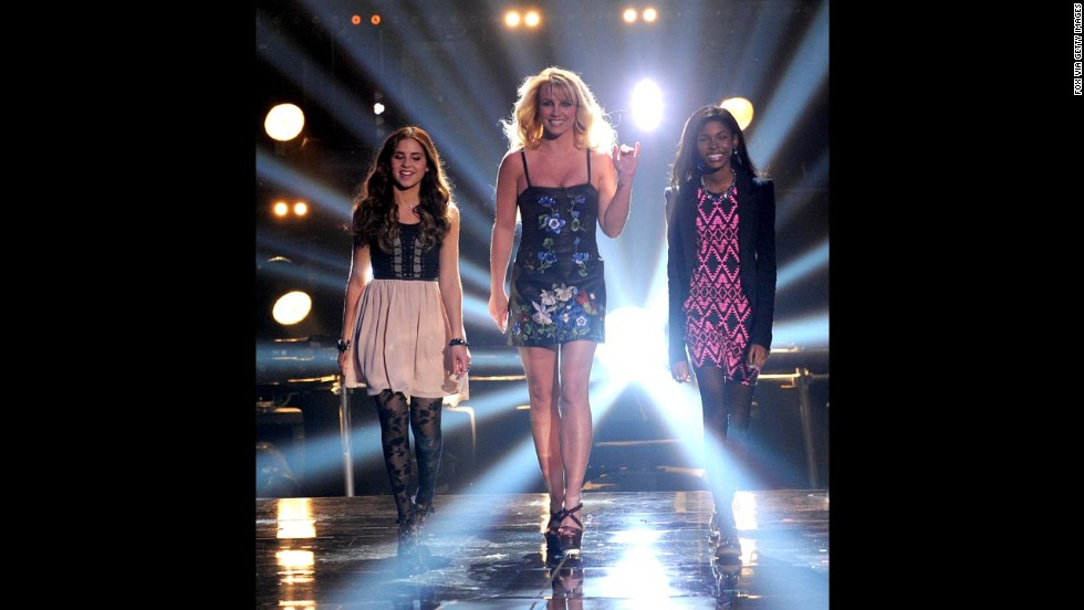 "From left, contestant Carly Rose Sonenclar, judge Britney Spears and contestant Diamond White appear on Fox's ""The X Factor"" in 2012."