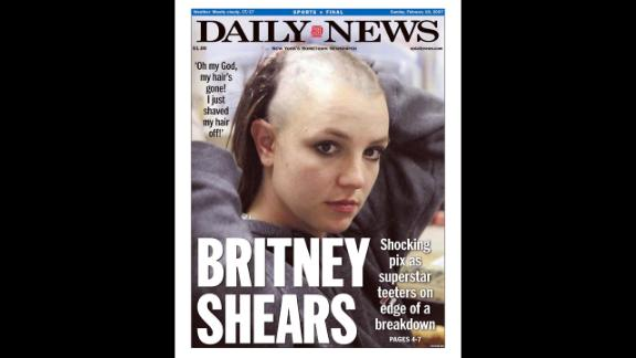 The front page of the New York Daily News shows Spears with a shaved head in 2007. Headlines at the time focused on whether the star was in the midst of a breakdown.