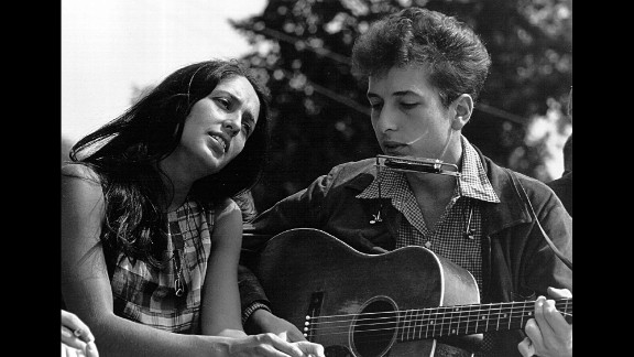 Joan Baez and Dylan perform during the March on Washington, a pivotal moment in the civil rights movement, on August 28, 1963.