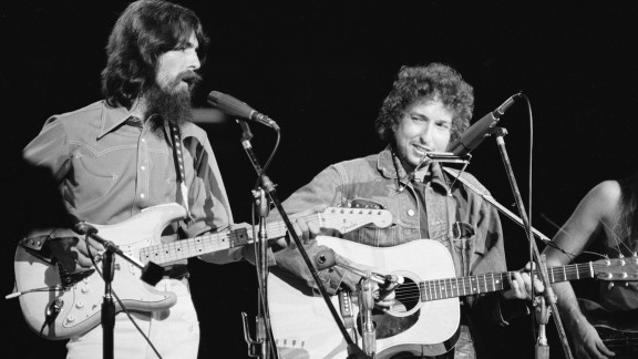 George Harrison and Dylan perform in the Concert for Bangladesh, held August 1, 1971 at Madison Square Garden in New York. The concert earned them the Grammy Award for Album of the Year along with Billy Preston, Eric Clapton, Klaus Voormann, Leon Russell, Ravi Shankar and Ringo Starr.