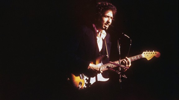 Dylan performs on stage at Madison Square Garden in 1974.