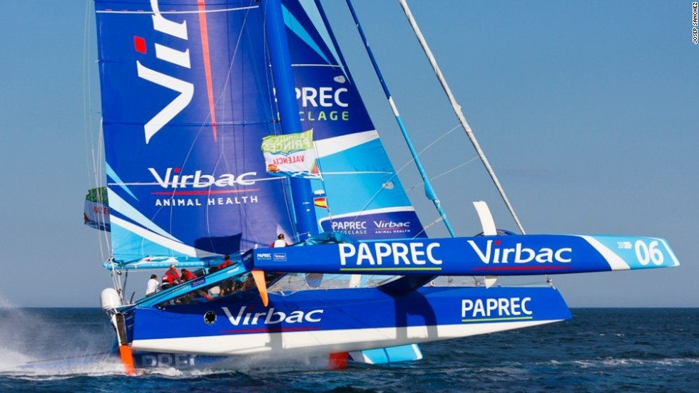 Here, the vessel Virbac-Paprec MOD70 looks a nanosecond away from capsizing as she masters a course at speed during June's La Route des Princes race from Spain to France via Ireland and the UK, as taken by Josep Sanchez.