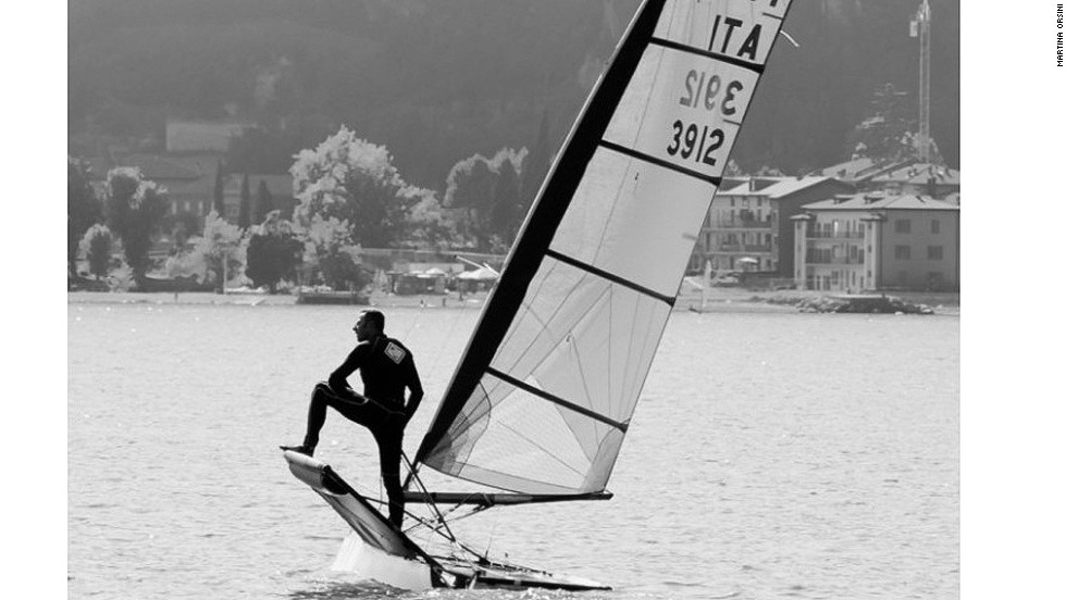 Here Stefano Rizzi poses as he waits for the start of the International Moth class's Italian Open Championship at Lake Garda. He went on to win a relatively wind-less event.