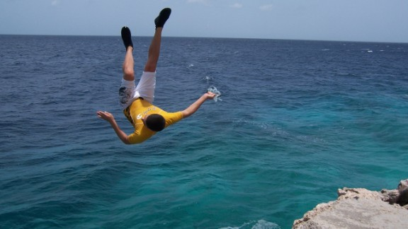 "Lori Lite, founder of Stress Free Kids, encourages her teens to use visualization techniques to relax. Here, her son is seen jumping off a cliff, the result, she says, of ""visualizing and affirming that 'I can do it' and expecting and visualizing a positive outcome."""