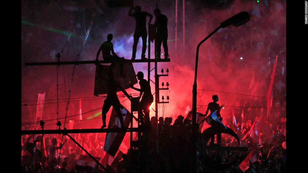 <strong>July 3:</strong> Opponents of Egyptian President Mohamed Morsy celebrate in Cairo after Morsy was ousted in a military coup.