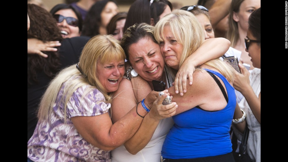 <strong>May 8:</strong> Kathy Brown, Virginia Aguiar and Jane Crook react to a guilty verdict for Jodi Arias outside the Maricopa County Superior Court in Phoenix. Arias was convicted of murdering her ex-boyfriend, Travis Alexander, in 2008.