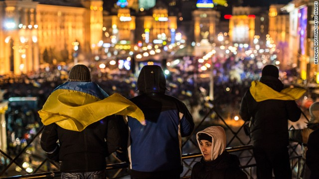 Protesters look out over an anti-government rally in Independence Square on Tuesday in Kiev, Ukraine.