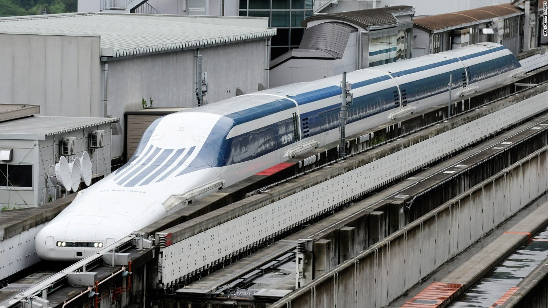 Even faster is Japan's maglev train. In 2015 it hit 603 km/h on an experimental track -- a new world record. Maglev trains use magnets to float above the tracks and move forward. However, Japan's won't actually open to passengers for another decade.