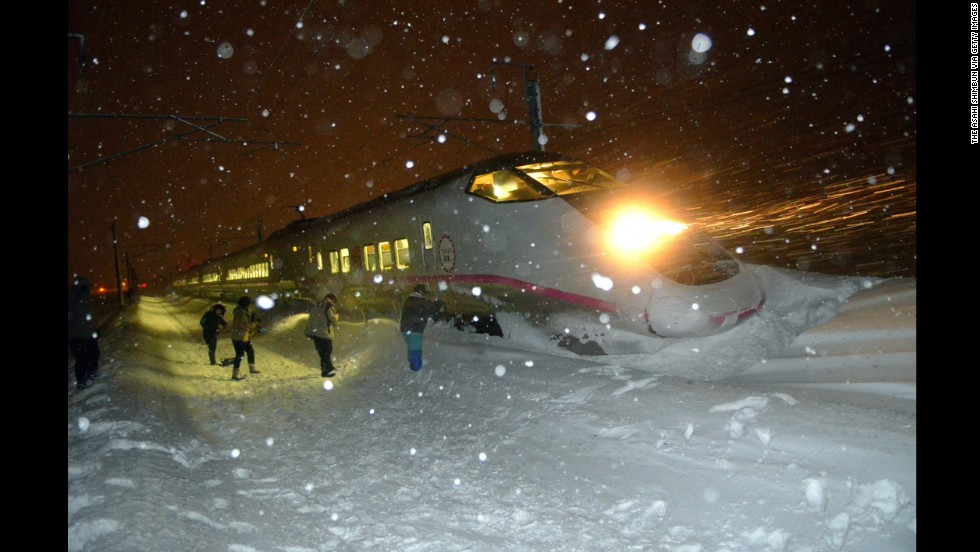 <strong>March 2:</strong> A six-car bullet train in northern Japan sits in the snow after derailing in blizzard conditions. Nobody aboard the train was injured.