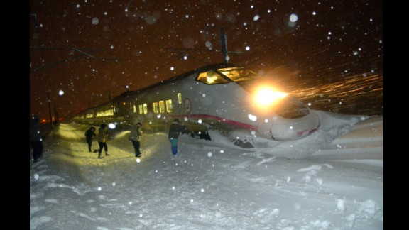 March 2: A six-car bullet train in northern Japan sits in the snow after derailing in blizzard conditions. Nobody aboard the train was injured.