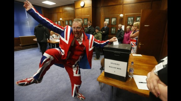 March 10: A man wearing a Union flag suit dances as he casts his vote on whether the Falkland Islands should remain a British territory. Residents of the islands, which Argentina calls the Malvinas, voted to remain under British rule.