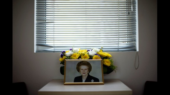 April 9: A portrait of former British Prime Minister Margaret Thatcher is arranged in a condolence room at the British Embassy in Beijing. Thatcher died the day before at the age of 87.