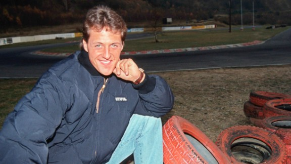 Schumacher made his F1 debut in 1991. Shortly after making his bow, the German posed for this photograph at the go-kart circuit in his hometown of Kerpen where he began his racing career.