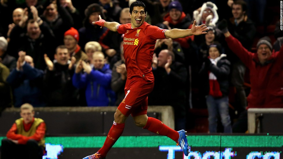Suarez -- here celebrating one of his four goals against Norwich in December -- had sought a transfer, but was refused permission to talk to Arsenal despite the London club thinking it had triggered a clause in his contract.