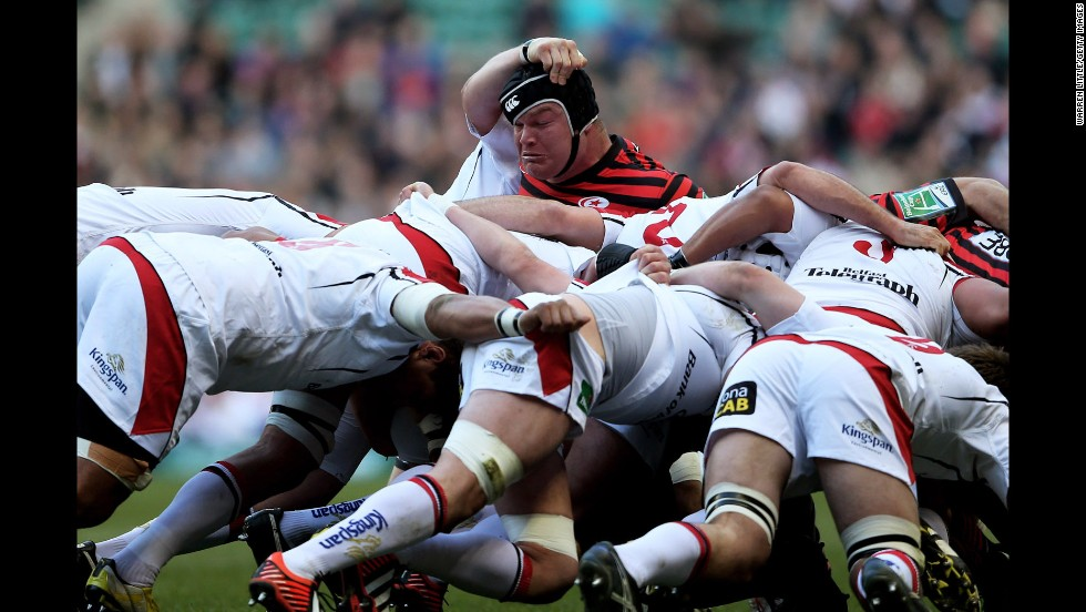 Prop Matt Stevens of Saracens pops out of the top of a scrum during the Heineken Cup quarterfinal match against Ulster on April 6 at Twickenham Stadium in London.