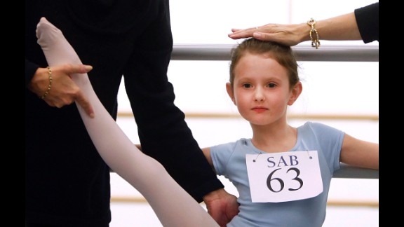 April 5: Natacha Ross is evaluated during an audition for 6-year old ballet hopefuls at the School of American Ballet in New York.