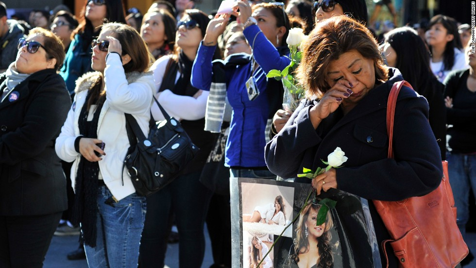 Rivera fans gather at her memorial ceremony, held December 19, 2012, at Gibson Amphitheatre in Universal City, California.