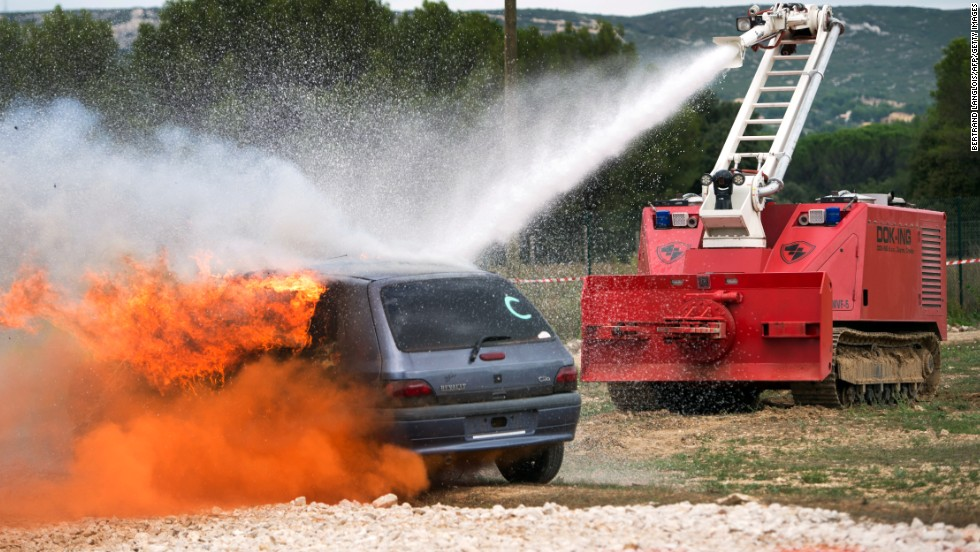 This remote-controlled fire fighter by Croatian robotics company Dok Ing is designed to extinguish fires in high risk industrial facilities and areas that may be inaccessible to humans. While the operators remain outside of the range of danger, the MVF-5 fire fighting vehicle is robust enough to survive even mine detonations.