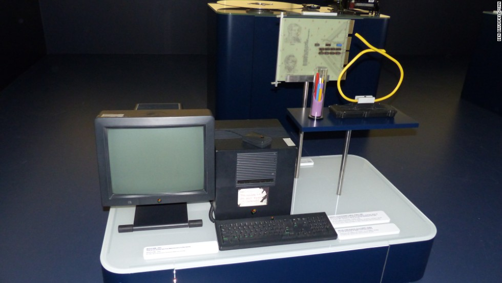 "One of the world's first web servers, a NeXT computer from 1991, is seen at CERN. The handwritten note indicates, ""This machine is a server. DO NOT POWER DOWN!"" On the right is an old Ethernet cable, which can handle only 10 Mb/second, and was largely replaced by the mid-'90s."