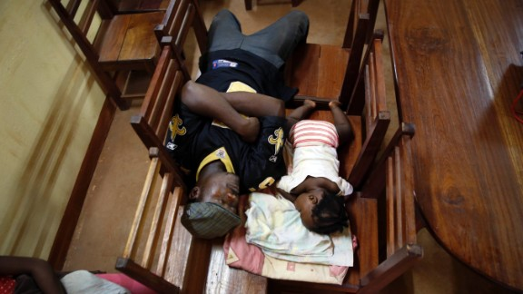 Civilians seek shelter in a Catholic church in Bangui on December 5.