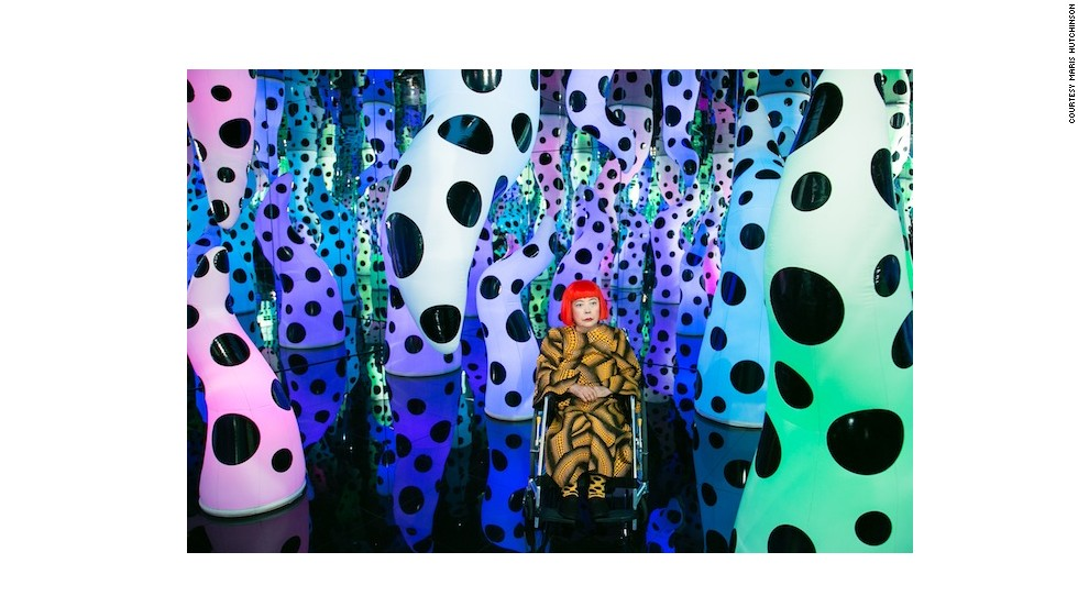 Japanese artist Yayoi Kusama, who has been living in a mental institution since the 1970s,  has used her struggle with mental illness as inspiration for her work.  Here she is pictured inside her <em>Love Is Calling </em>infinity room.