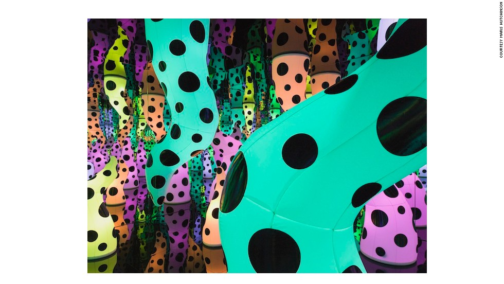 The inflatables gradually change colors, creating an environment that shifts moods.