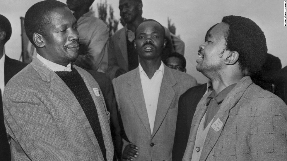 Robert Sobukwe (left) was a nationalist leader who left the African National Congress to found and head the Pan-Africanist Congress in 1959. One year later, he was arrested and moved to Robben Island where he was kept in solitary confinement. Sobukwe was released from prison in 1969 but was put under house arrest. He died in 1978 from lung complications but remains to this day a celebrated figure in the fight against apartheid.