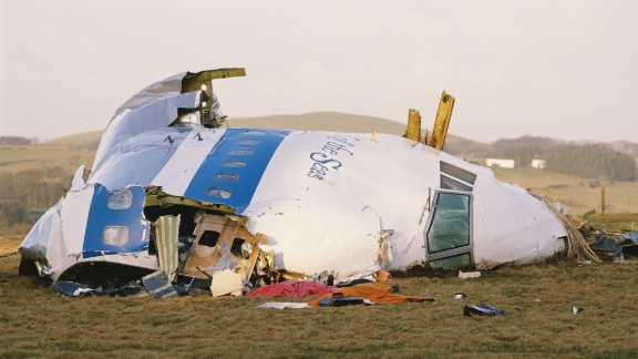 Some of the wreckage of Pan Am Flight 103 after it crashed onto the town of Lockerbie in Scotland, on December 21st, 1988. The Boeing 747 was destroyed en route from Heathrow to JFK Airport in New York, when a bomb was detonated in its forward cargo hold. All 259 people on board were killed, as well as 11 people in the town of Lockerbie.