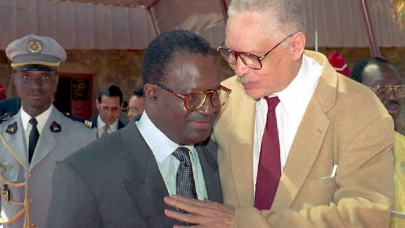 """Leon Sullivan (right) was an African-American Baptist minister and an anti-Apartheid activist, who focused on the creation of job training opportunities for African Americans. Former U.N. Secretary-General Kofi Annan said: """"He was [...] respected throughout the world for the bold and innovative role he played in the global campaign to dismantle the system of apartheid in South Africa."""" Sullivan is pictured with former Senegalese PM Habib Thiam."""