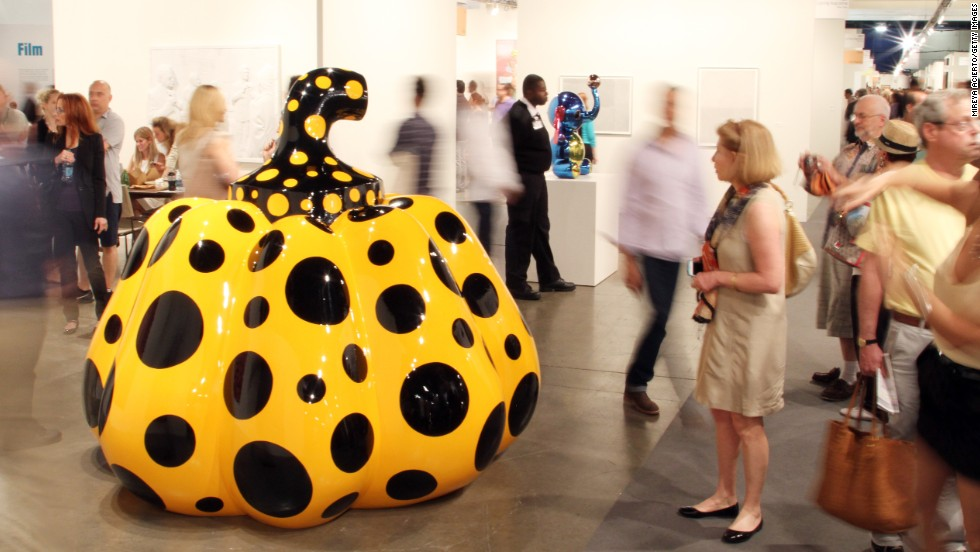 Works by Yayoi Kusama are on display at the David Zwirner Gallery exhibit during Art Basel Miami Beach on Friday, December 6.