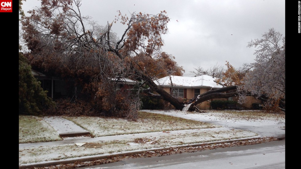 "A tree, split in two, lays on two homes on December 6 in Dallas in this photograph taken by CNN iReporter <a href=""http://ireport.cnn.com/docs/DOC-1066368"">Earl Wallace IV</a>."